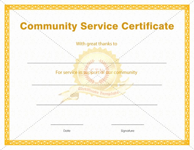 Community Service Certificate Template Free Elegant 9 Best Of Munity Service Hours Certificate