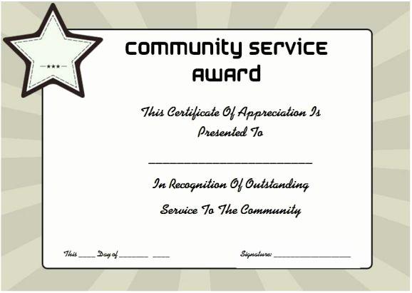 Community Service Certificate Template Free Elegant Munity Service Certificate Of Appreciation