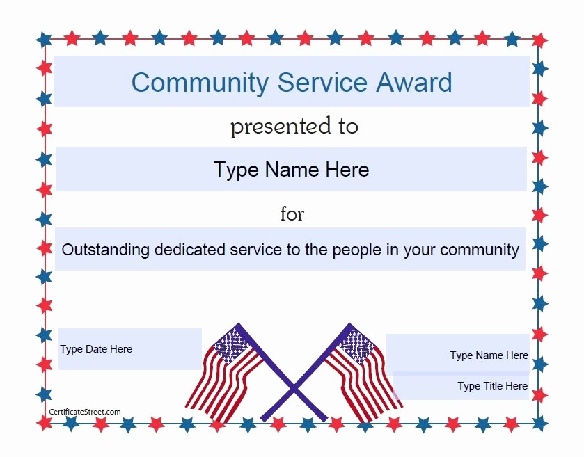 Community Service Certificate Template Free Fresh Munity Service Award Templates