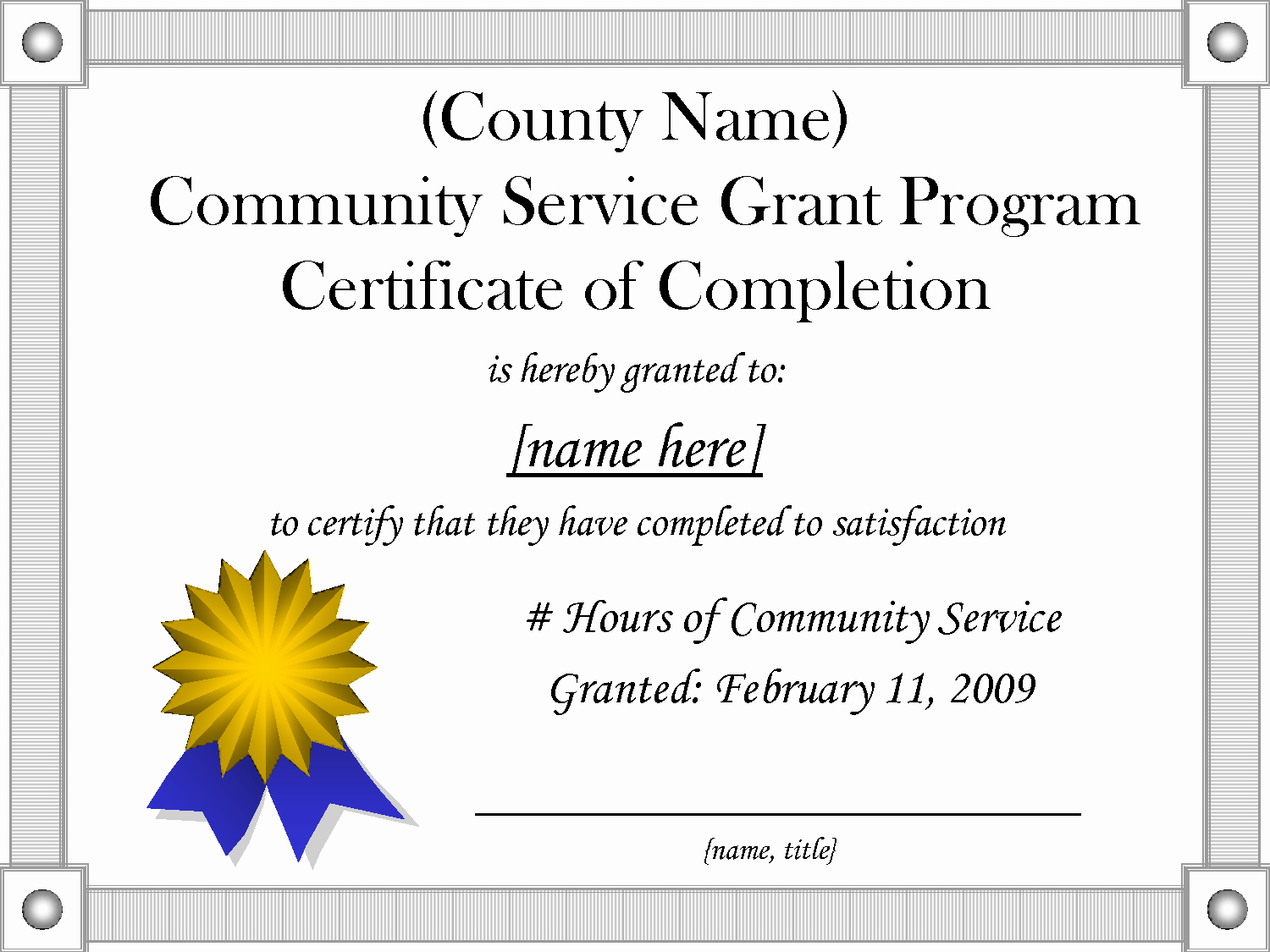 Community Service Certificate Template Free Inspirational 9 Best Of Munity Service Hours Certificate