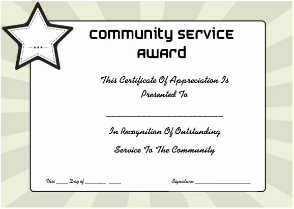 Community Service Certificate Template Free Lovely Certificates Templates Certificate Recognition Template