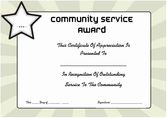 Community Service Certificate Template Free Lovely Certificates Templates Certificate Recognition Template