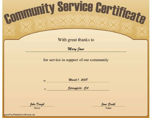 Community Service Certificate Template Free Lovely This Munity Service Certificate Expresses Great Thanks