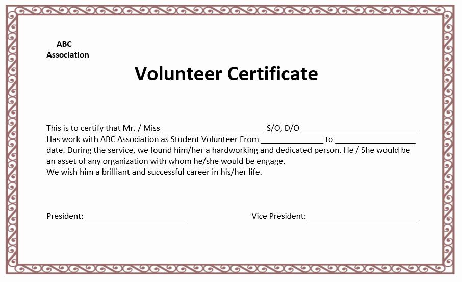 Community Service Certificate Template Free New Volunteer Certificate Template Microsoft Word Templates