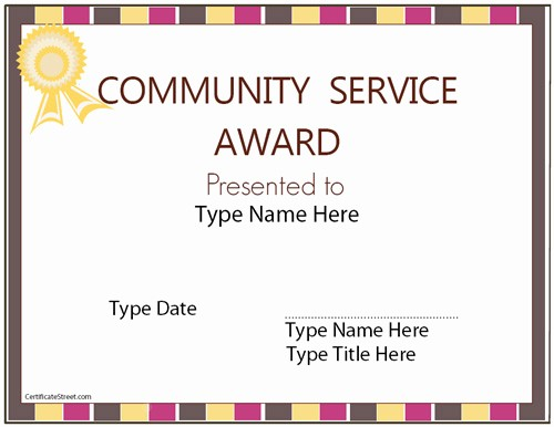 Community Service Certificate Template Free Unique Education Certificates Munity Service Award