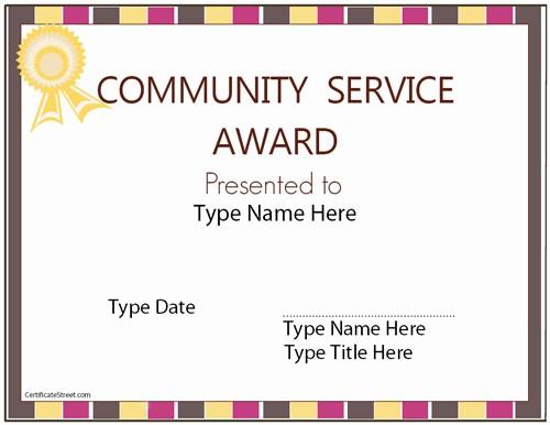 Community Service Certificate Template Free Unique Education Certificates Munity Service Award