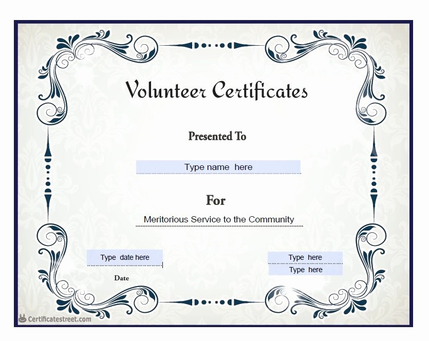 Community Service Certificate Template Free Unique Munity Service Award Templates