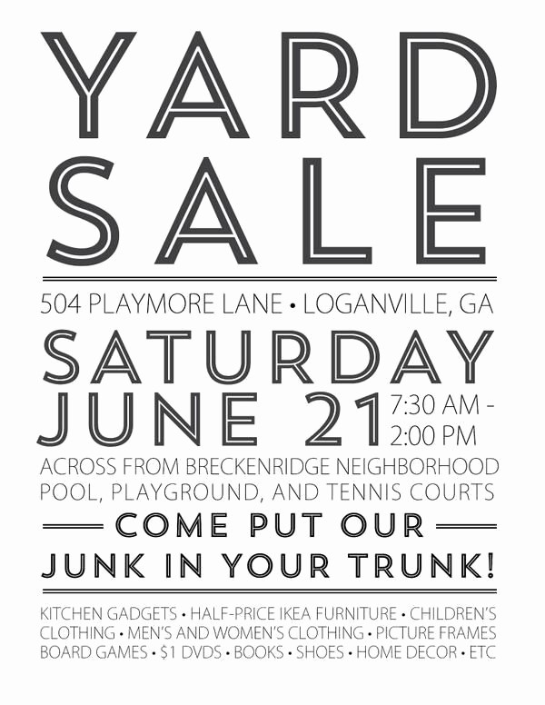 Community Yard Sale Sign Template Awesome 17 Best Images About Yard Sale Tips On Pinterest