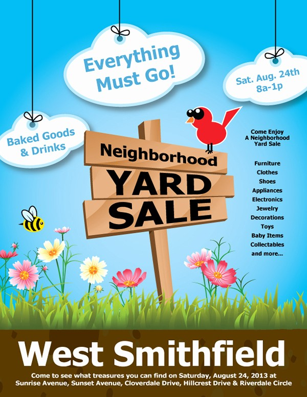 Community Yard Sale Sign Template Elegant Yard Sale Flyer On Behance