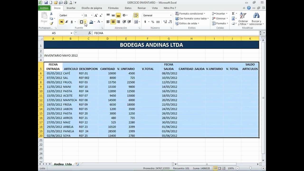Como Hacer Inventario En Excel Best Of Inventario Excel Basico