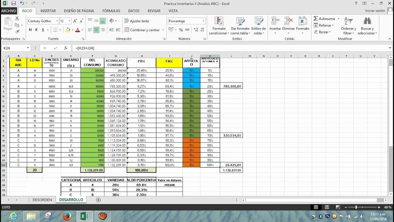 Como Hacer Inventario En Excel New Clasificación De Inventarios Abc