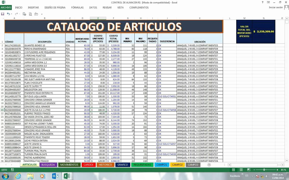 Como Hacer Inventario En Excel New Inventario En Excel $ 140 00 En Mercado Libre