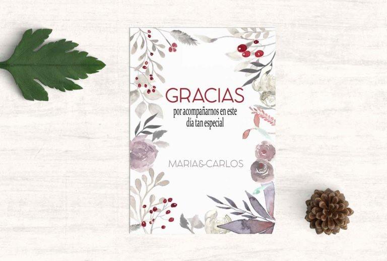 Como Hacer Tarjetas De Agradecimiento Luxury Tarjeta Gracias Boda Floral Martina Design&paper