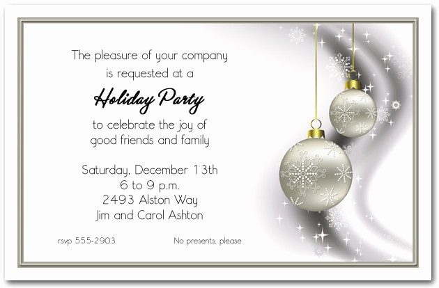 Company Christmas Party Invite Template Awesome Rhinestone Silver ornaments Holiday Invitations Christmas