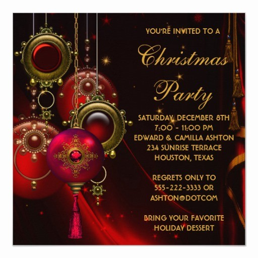 Company Christmas Party Invite Template Beautiful Red Gold ornaments Corporate Christmas Party Invitation