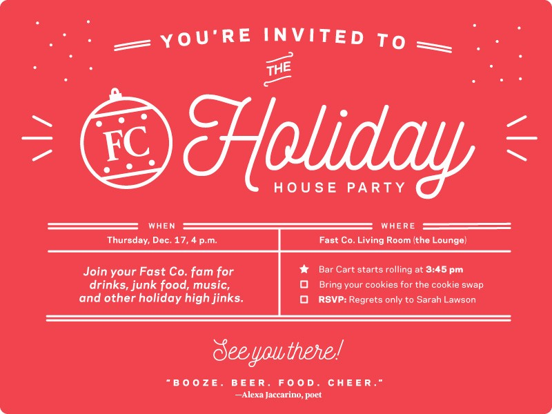 Company Christmas Party Invite Template Elegant Fast Pany Holiday Party Invite by Leslie Xia