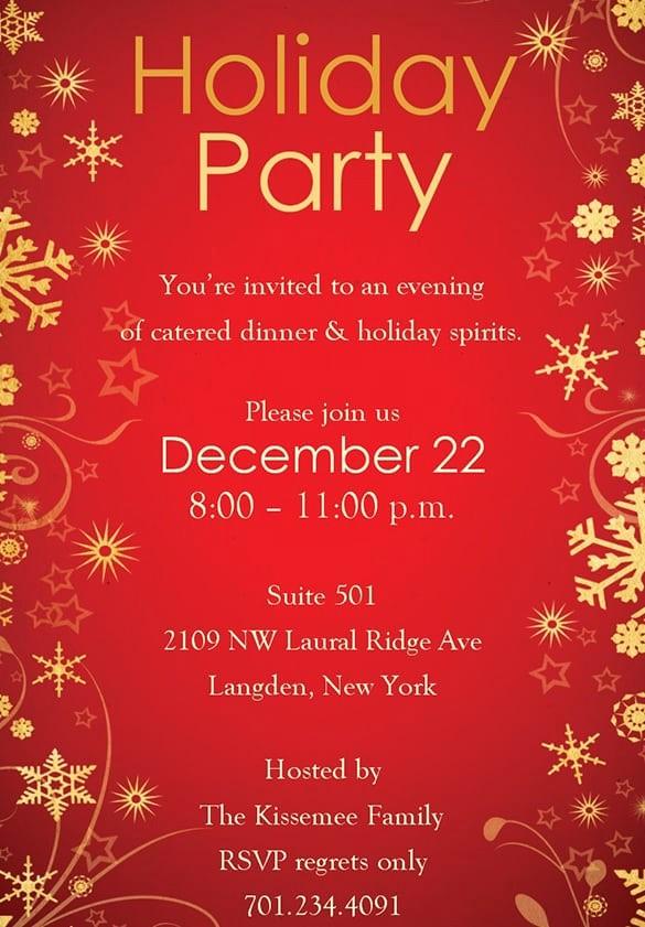 Company Holiday Party Invitation Template Fresh Free Christmas Party Invitation Templates