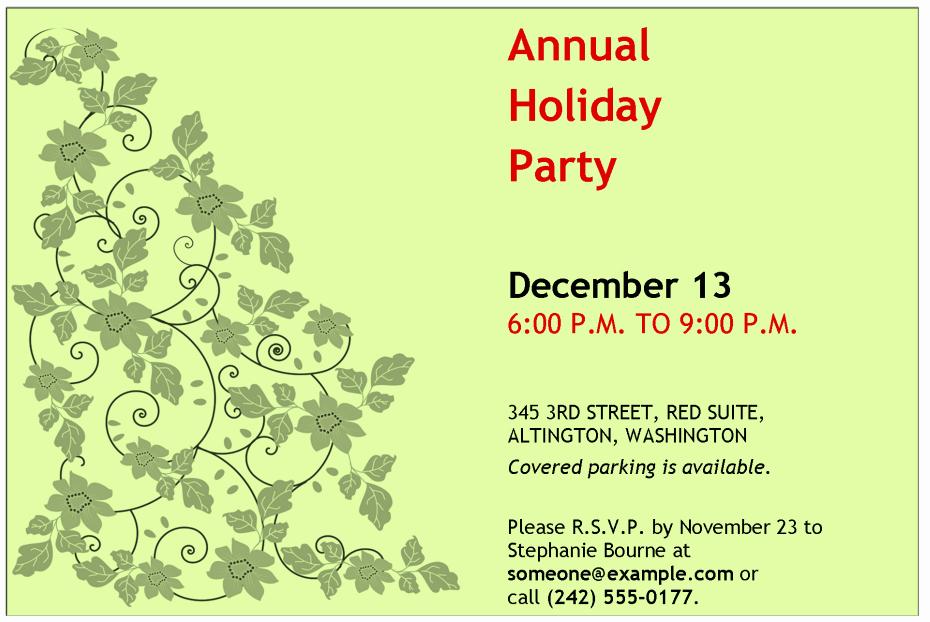 pany holiday party invitation
