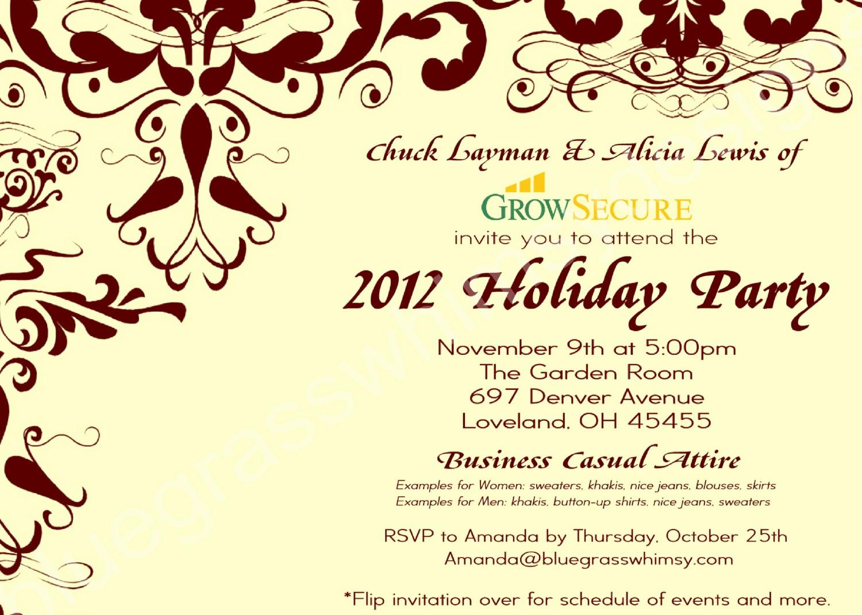 Company Holiday Party Invitation Template New Custom Corporate Holiday Party Invitation W Crimson Flourish