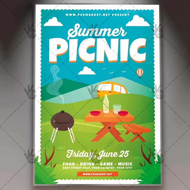 Company Picnic Flyer Template Free Awesome Download Summer Picnic Flyer Psd Template