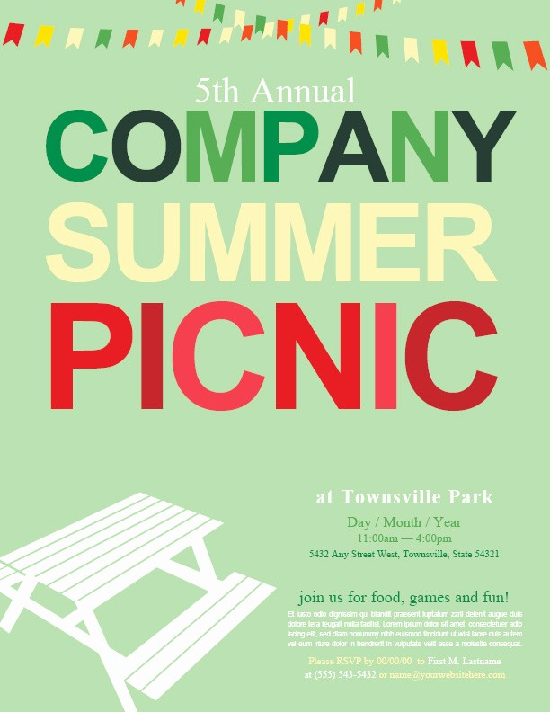 Company Picnic Flyer Template Free Awesome Pany Picnic Background to Pin On Pinterest