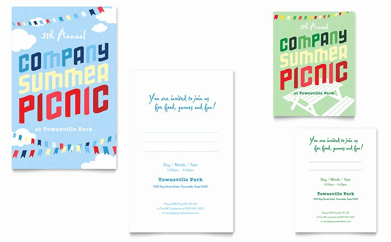 Company Picnic Flyer Template Free Luxury Pany Summer Picnic Note Card Template Word & Publisher
