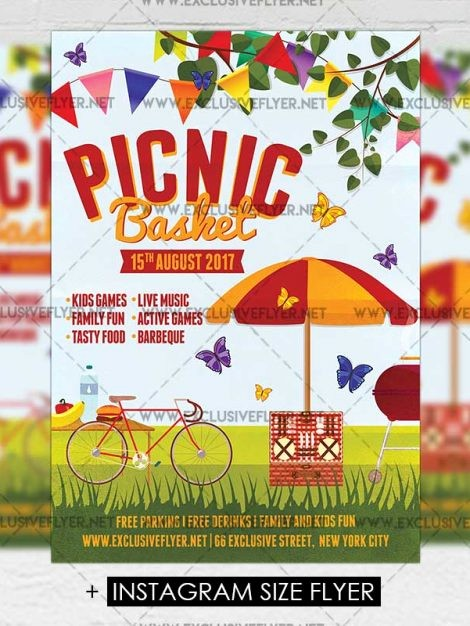 Company Picnic Flyer Template Free New Picnic Basket – Premium A5 Flyer Template