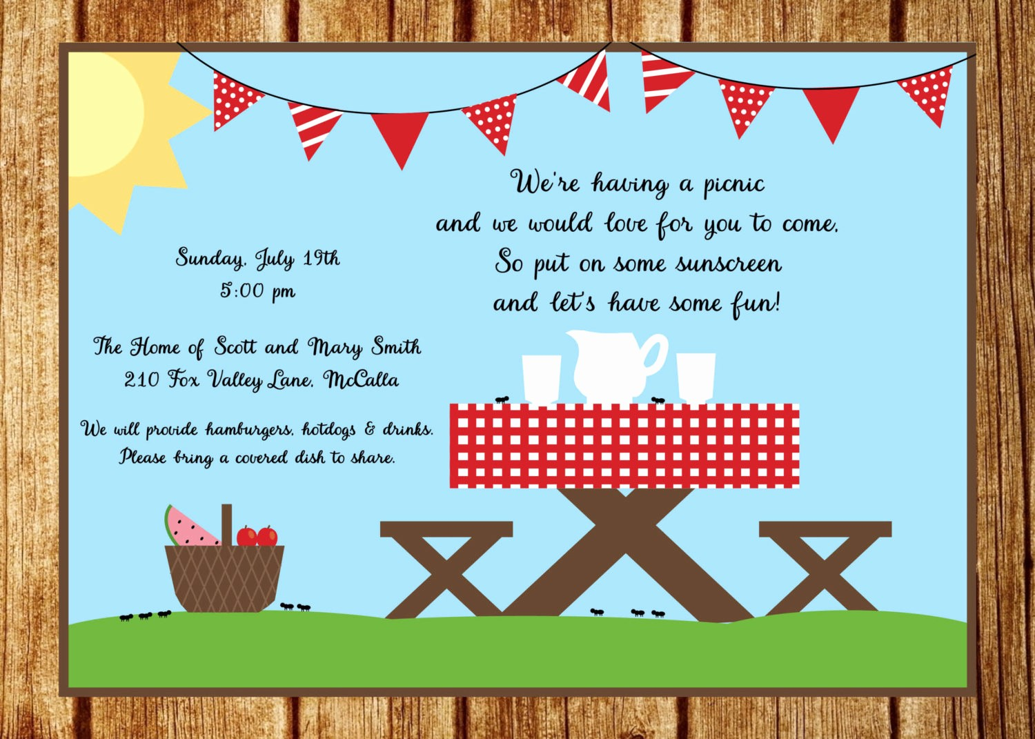 Company Picnic Flyer Template Free New Summer Picnic Invitation Summer Party Invitation Custom Park