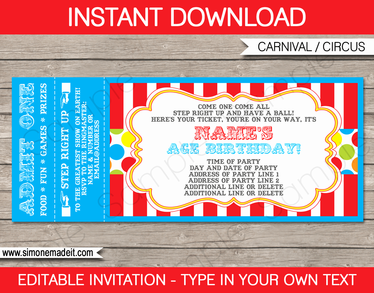 Concert Tickets Template Free Download Awesome Carnival Party Ticket Invitation Template