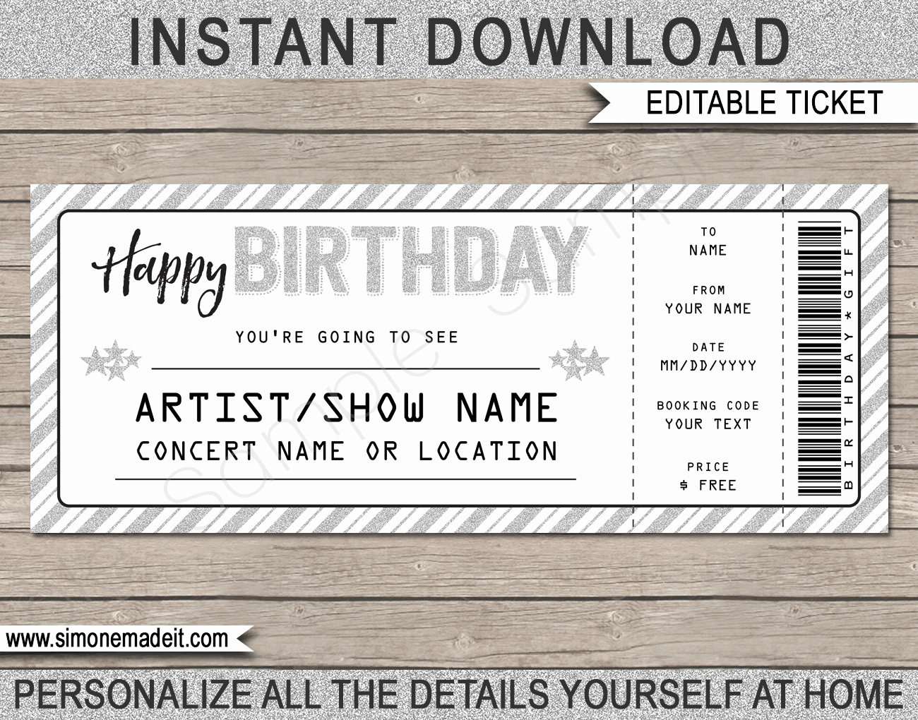 Concert Tickets Template Free Download Awesome Printable Concert Ticket Template