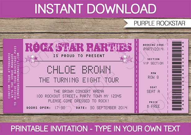 Concert Tickets Template Free Download Beautiful 8 Best Of Free Printable Ticket Invitation Free