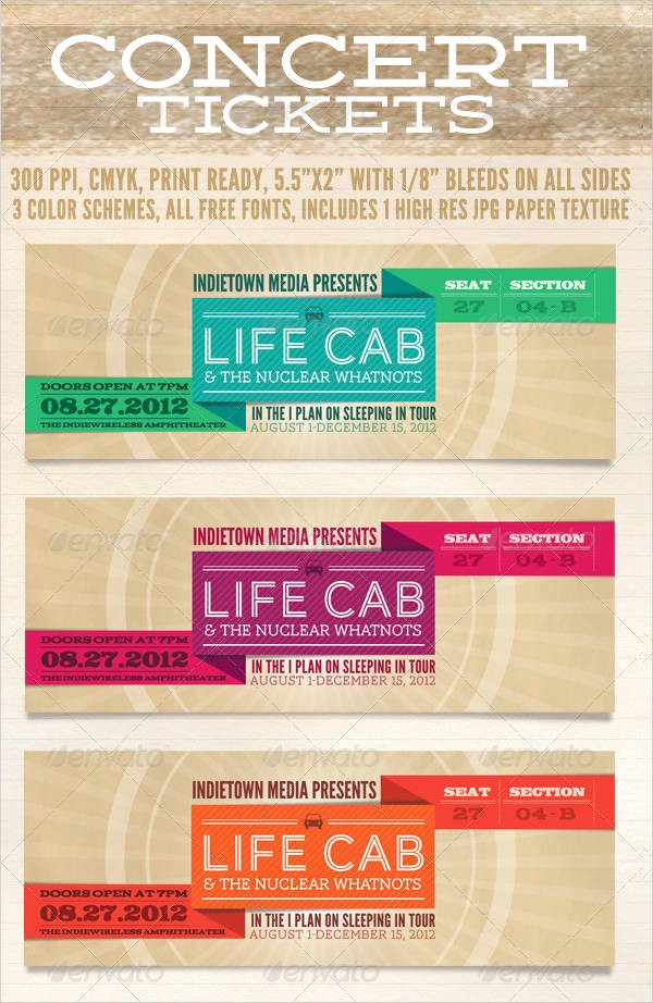 Concert Tickets Template Free Download Elegant 23 Printable Ticket Templates Psd Word Ai