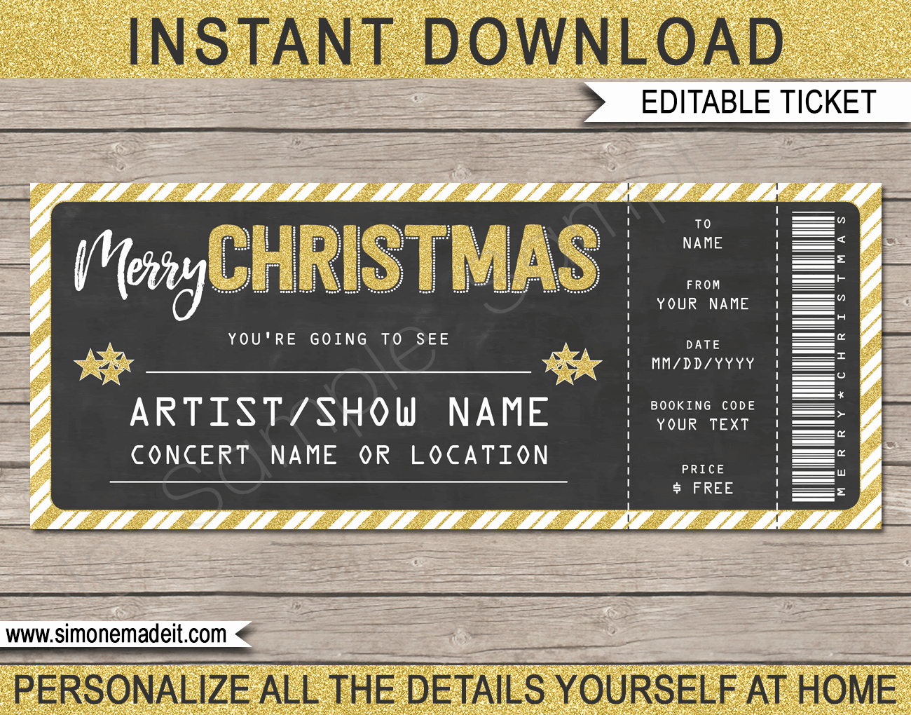 Concert Tickets Template Free Download Inspirational Concert Ticket Christmas Gift Template