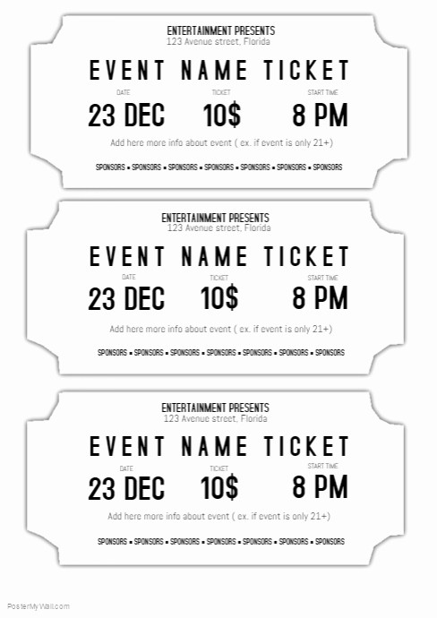 Concert Tickets Template Free Download Lovely event Ticket Template Black and White Printable