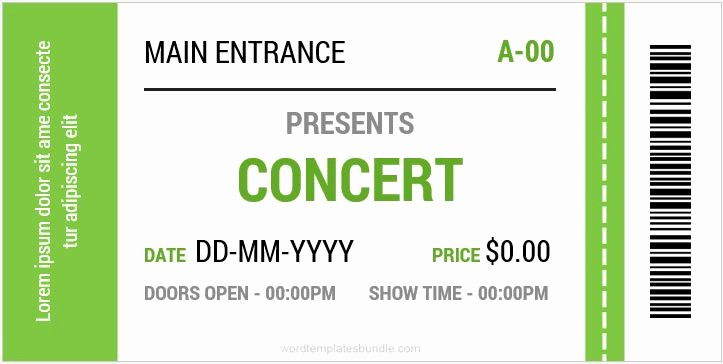 Concert Tickets Template Free Download Unique Concert Ticket Templates for Ms Word