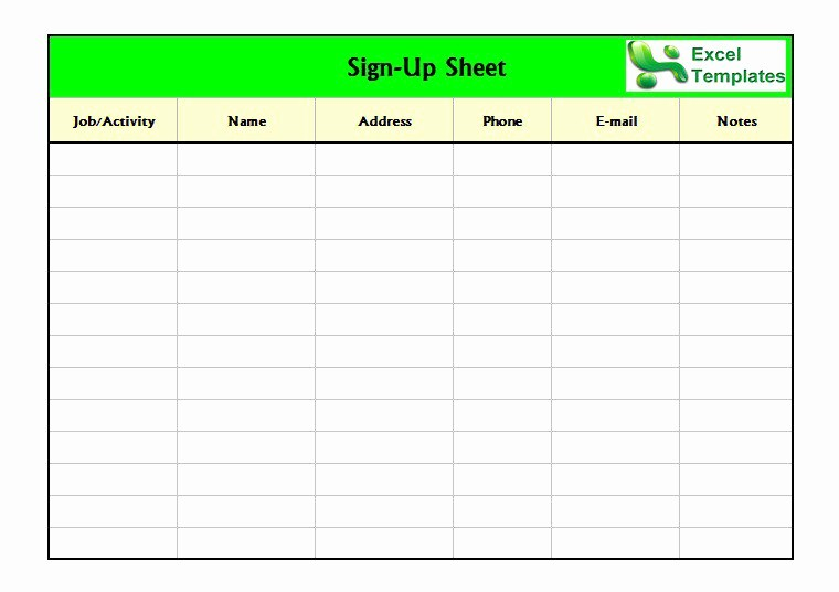Concession Stand Sign Up Sheet Awesome Free Sign In Sign Up Sheet Templates Excel Word