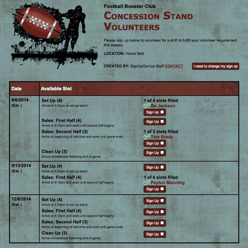 Concession Stand Sign Up Sheet Awesome Your Volunteers Will Thank You for Using Online Sign Ups