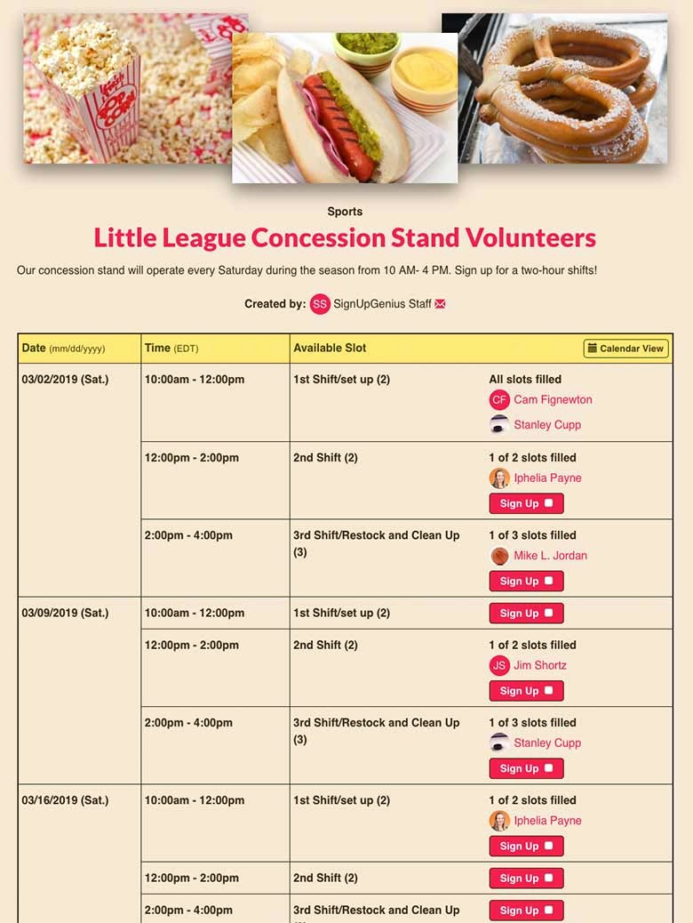 Concession Stand Sign Up Sheet Elegant Signupgenius Free Line Sign Up forms