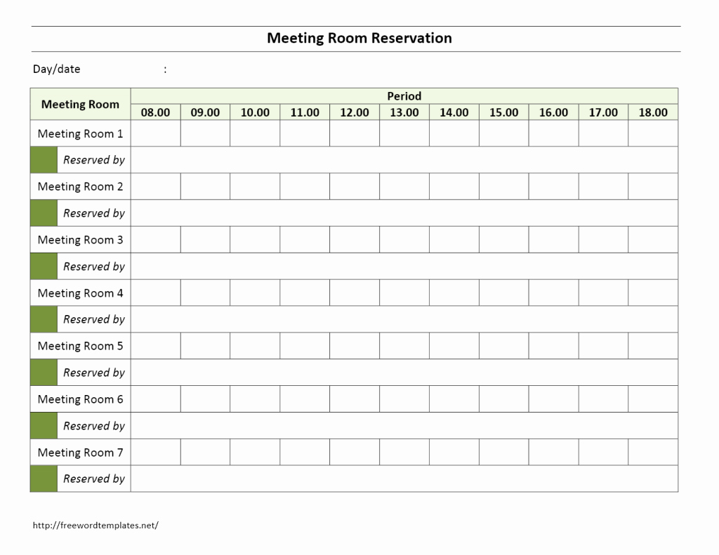 Conference Room Sign Up Template Fresh Meeting Room Reservation form