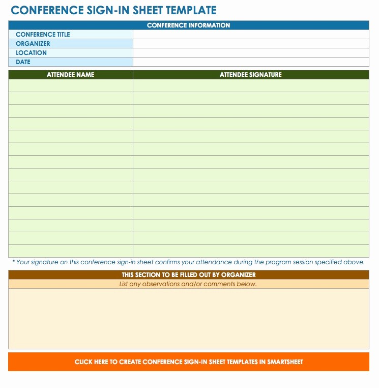 Conference Sign In Sheet Template Unique Free Sign In and Sign Up Sheet Templates