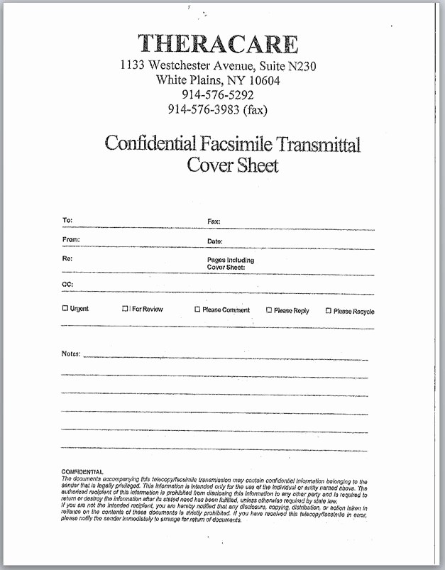 Confidential Fax Cover Sheet Pdf Elegant Ei Documents Westchester – theracare