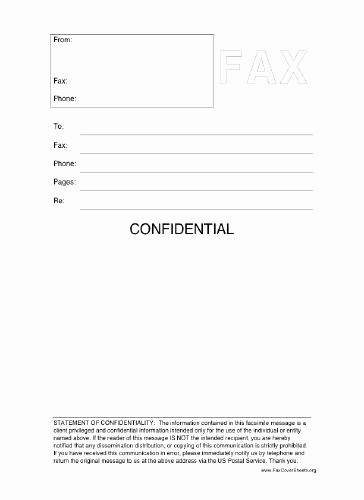 Confidential Fax Cover Sheet Pdf Lovely This Printable Fax Cover Sheet Includes A Statement Of
