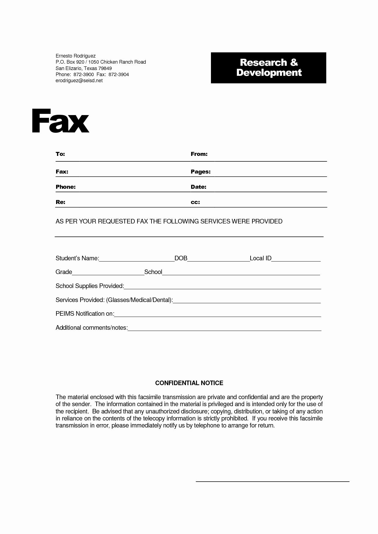 Confidential Fax Cover Sheet Pdf New Fax
