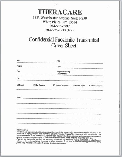 Confidential Fax Cover Sheet Pdf Unique Cpse Documents Westchester – theracare