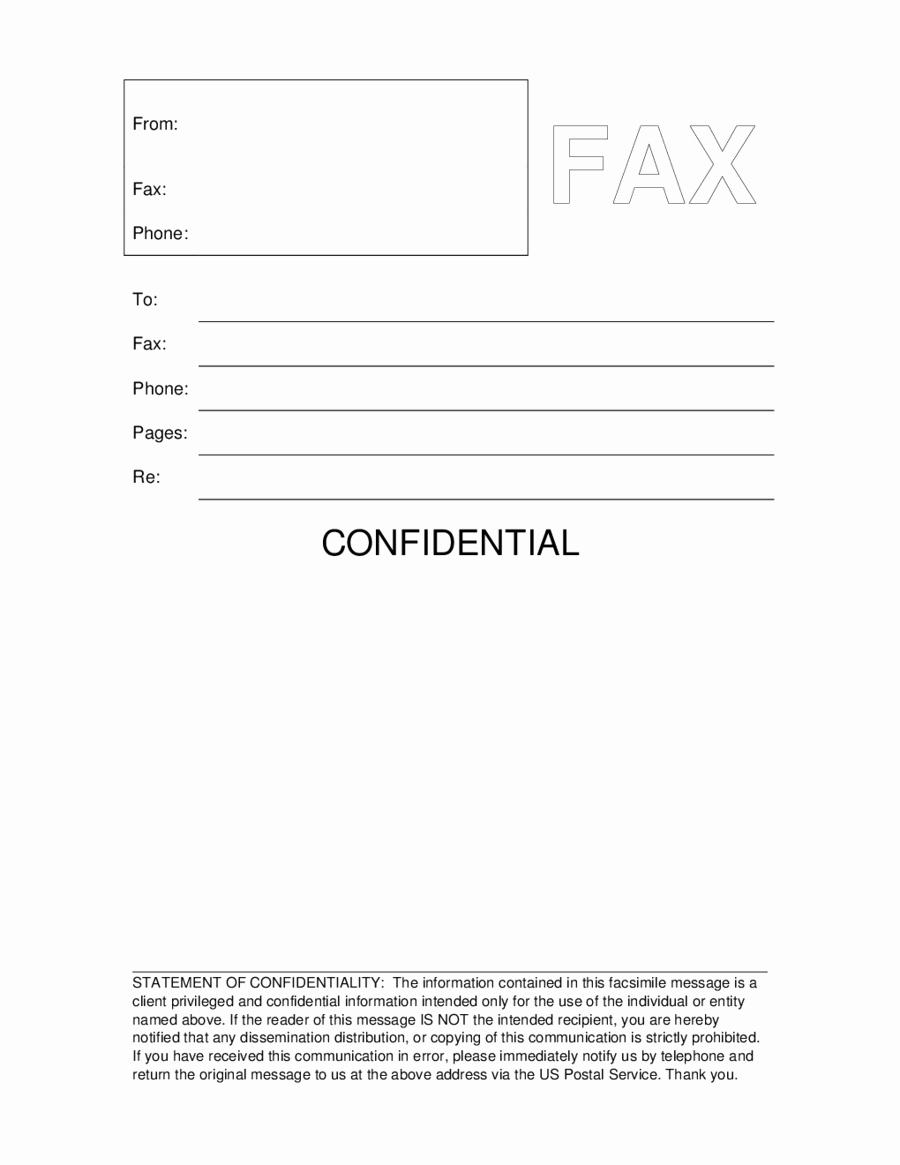 Confidential Fax Cover Sheet Pdf Unique Fax
