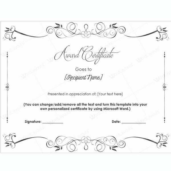 Congratulations Certificate Template Microsoft Word Best Of Award Certificate Templates Free Printable Documents