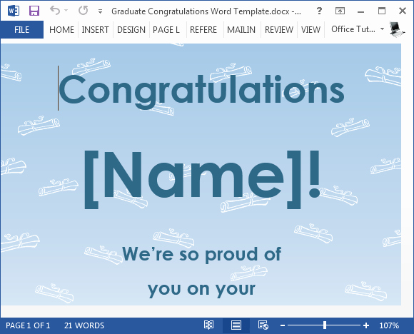 Congratulations Certificate Template Microsoft Word Best Of Free Graduation Congratulations Card Template for Word
