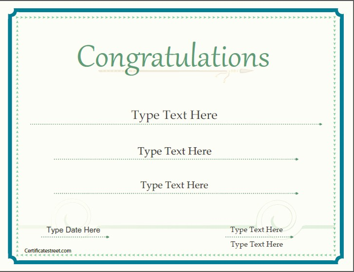 Congratulations Certificate Template Microsoft Word Inspirational January Certificates for 2017