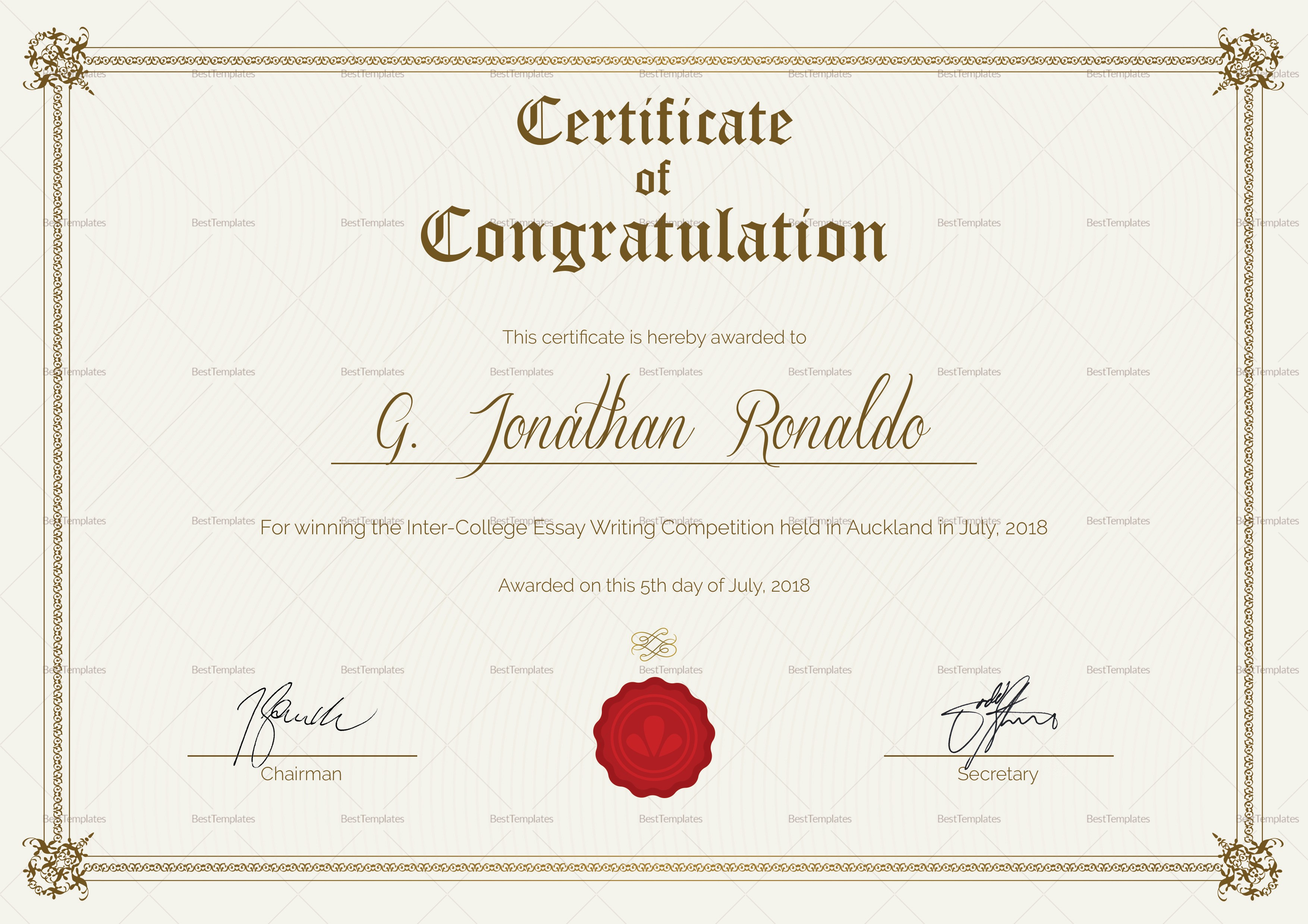 Congratulations Certificate Template Microsoft Word Unique General format Congratulations Certificate Design Template