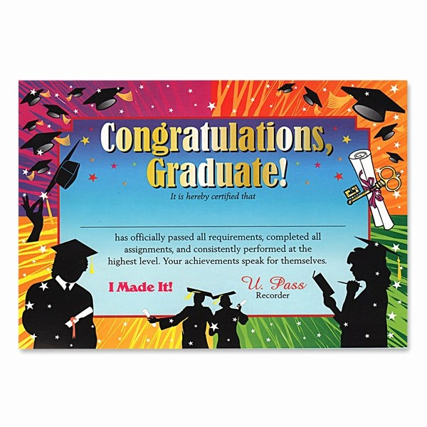 Congratulations You Did It Certificate Elegant Congratulations Graduate Award Certificates Partycheap